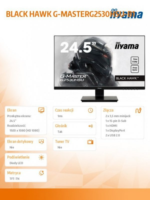 IIYAMA Monitor 24,5 G2530HSU-B1 TN,FHD 75Hz,1MS,HDMI,DP,USB.