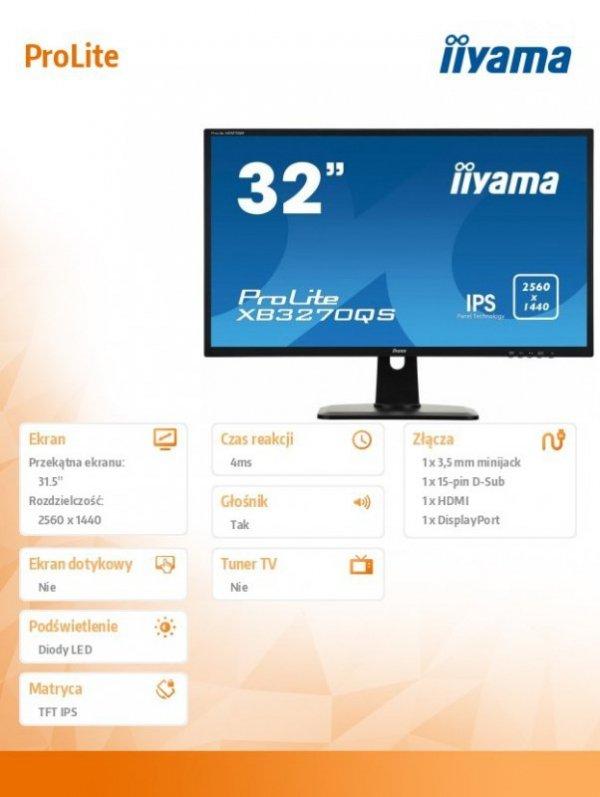 IIYAMA Monitor 32 XB3270QS-B1 IPS,WQHD,HDMI,DP,PIVOT.