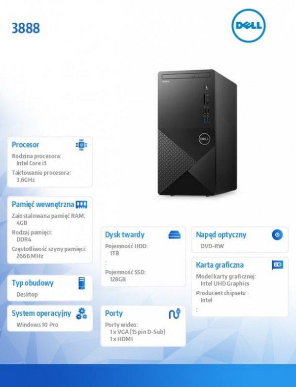 Dell Desktop Vostro 3888 i3-10100/4GB/1TB/UHD 630/DVD RW/WLAN + BT/Kb/Mouse/Win10Pro 3Y BWOS