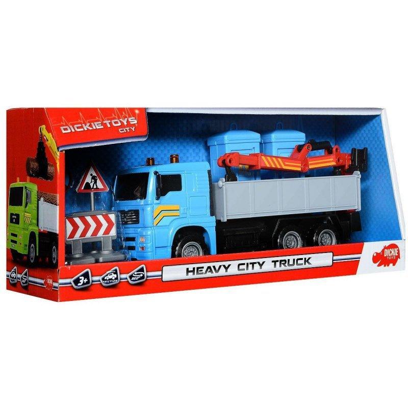 DICKIE CITY Pojazd Heavy City Ciężarówka  + Toi Toi Dźwig