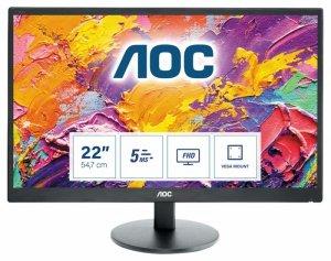 Monitor AOC E2270SWHN (21,5; TN; FullHD 1920x1080; HDMI, VGA; kolor czarny)