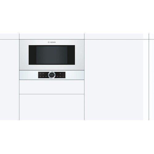 Bosch Serie 8 BFR634GW1 kuchenka mikrofalowa Wbudowany Mikrofalówka Solo 21 L 900 W Biały