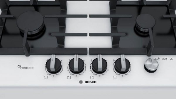 Bosch Serie 6 Gas cooktop PPP6A2M90 4 fields white color Biały Built-in (placement) 60 cm Gaz 4 zone(s)