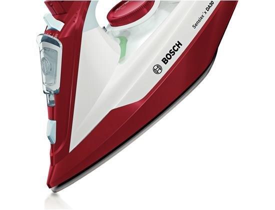 Bosch TDA3024010 żelazko Żelazko parowe Ceramiczna śliska stopa żelazka Czerwony, Biały 2400 W