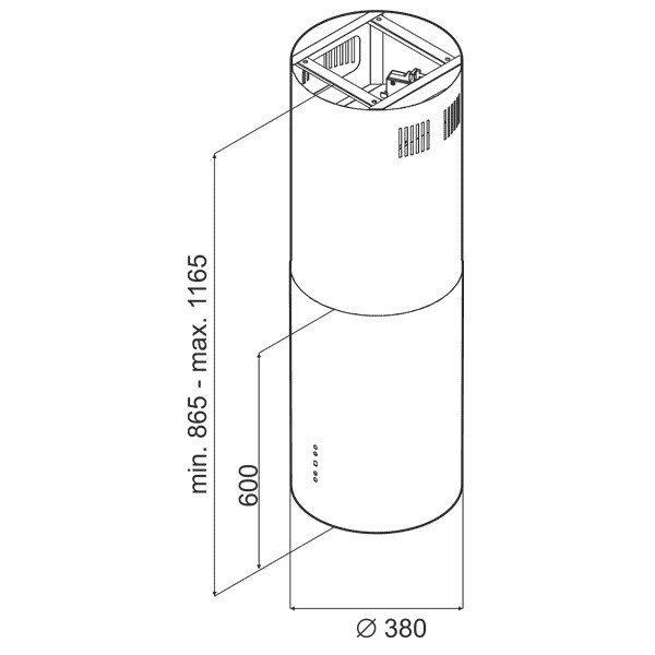 Okap wyspowy CIARKO ORW INOX (760 m3/h; 390mm; kolor inox)