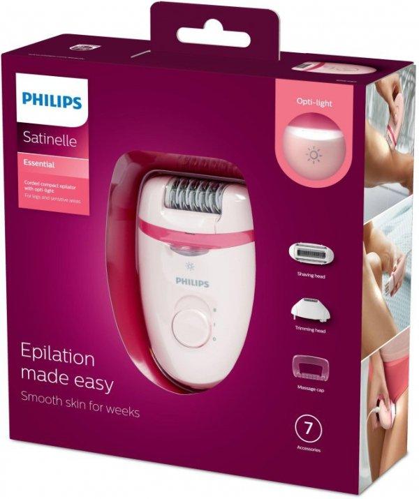 Depilator Philips Satinelle Essential BRE285/00 (kolor różowy)