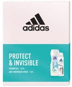Adidas Zestaw prezentowy Protect & Invisible Women (deo spray 150ml+żel pod prysz.250ml)