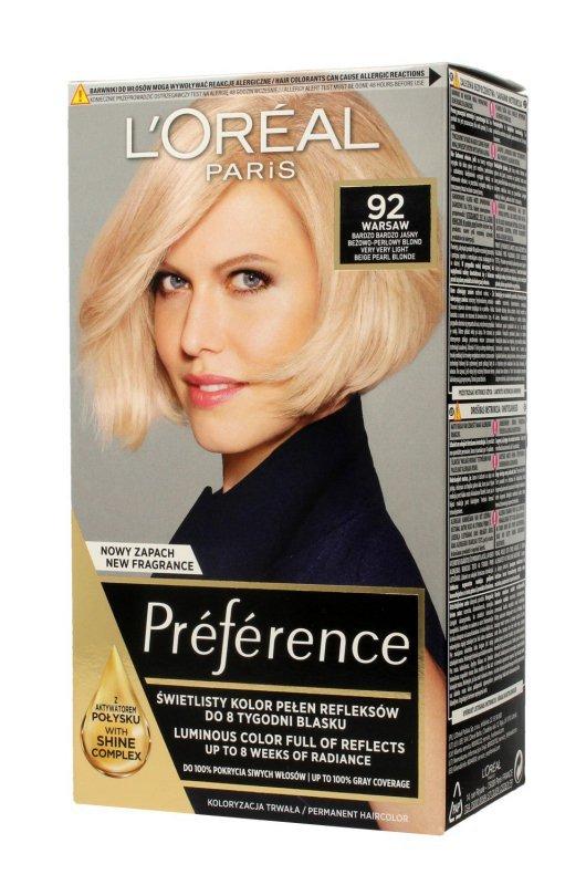 Loreal Preference Farba do włosów nr 92 Warsaw - bardzo bardzo jasny beżowo-perłowy blond  1op.