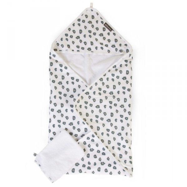 Childhome Ręcznik z kapturkiem + myjka Jersey Leopard