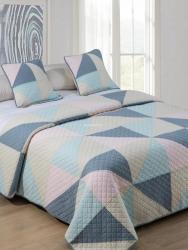 Narzuta bawełniana trójkąty pastel niebieska 240x220