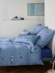 Elegante pościel mako-bawełniana egipska Home niebieska 2344 155x200