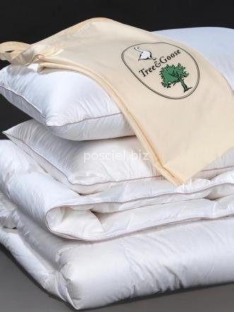 Zestaw kołdra puchowa Tree&Goose letnia 140x200+1poduszka