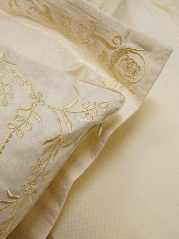 Pościel bawełniana haftowana Diament krem 160x200