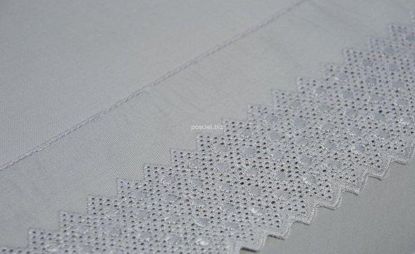 Pościel bawełniana Kalina szara z koronką 160x200