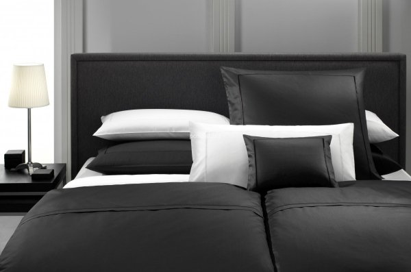 Elegante pościel bawełniana egipska czarna i biała 155x200