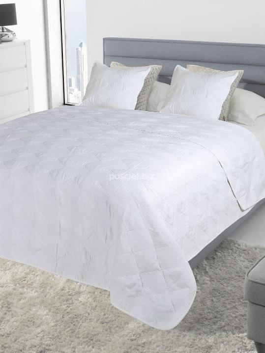 Narzuta bawełniana Szachownica biała 240x220
