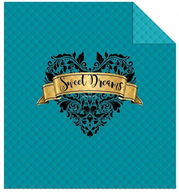 Nowoczesna narzuta z mikrofibry Sweet dreams turkusowa 220x240