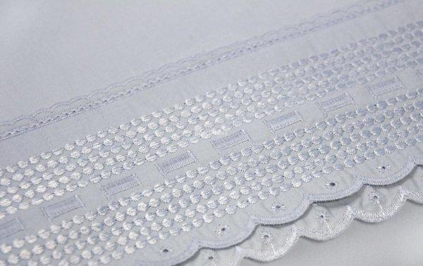 Pościel bawełniana Aniela szara z koronką 160x200