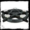 świecznik w kształcie pentagramu, na 6 małych świeczek podgrzewaczy