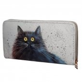 Czarny Kot  - portfel z kotem, zamykany na suwak