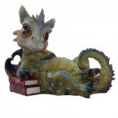 Zielony Smok z Książkami Marzyciel - figurka fantasy