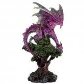 Fioletowy Smok na Drzewie - figurka wys.31cm