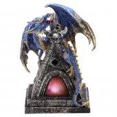 Niebieski Smok na wieży - figurka z lampką LED