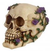 Czaszka Opleciona Fioletowymi Różami - figurka