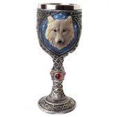 Wilczy Kielich - puchar dekoracyjny z szarym wilkiem