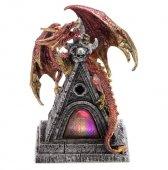 Czerwony Smok na wieży - figurka z lampką LED