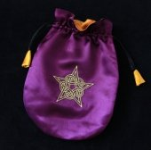 Celtycki Pentagram - fioletowa sakiewka, woreczek na karty Tarota