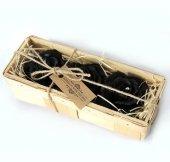 Czarne Róże w koszyczku 3 szt. - świece z naturalnego wosku