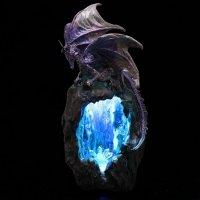 Smocza Jaskinia niebieska - figurka z lampką LED i podstawką na kadzidła stożkowe