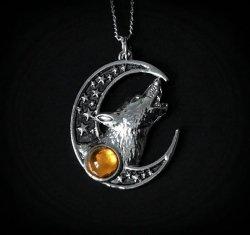 naszyjnik Zew Zaświatów - Księżyc i Wilk