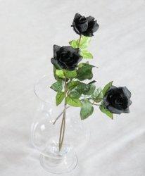 Czarna Róża -  długość 71 cm, kwiat sztuczny