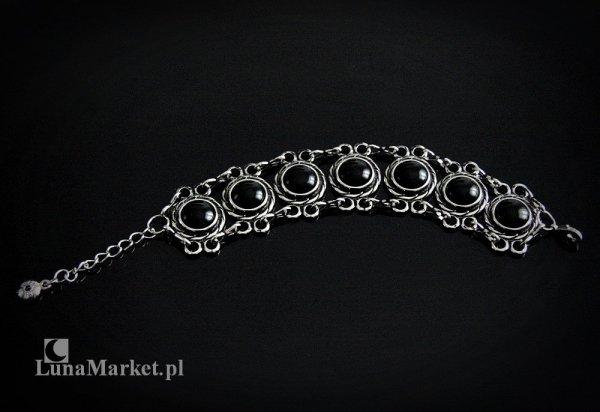 szeroka bransoletka z naturalnymi kamieniami czarnymi onyksami