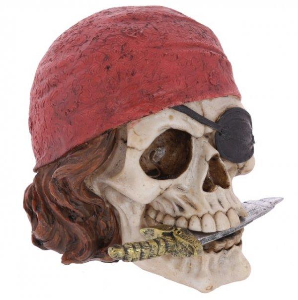 figurka czaszka pirata z nożem w zębach