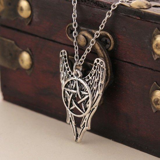 naszyjnik z pentagramem i skrzydłami - Pentakl i Skrzydła