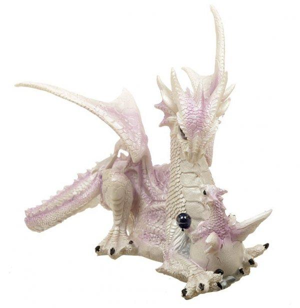 zimowy biały smok - Smoczyca ze Smoczątkiem figurka fantasy