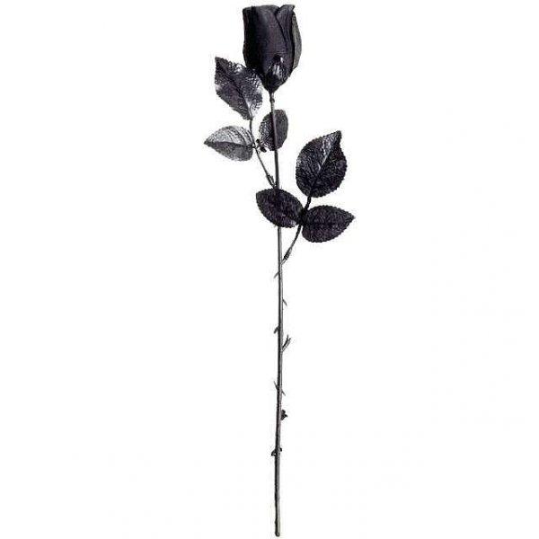 Czarna Róża - kwiat sztuczny długość 45 cm, całkowicie czarny kwiat róży