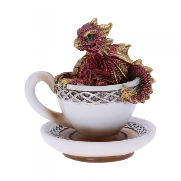 """figurka w stylu fantasy - mały czerwony smok w filiżance kawy """"Draguccino"""""""