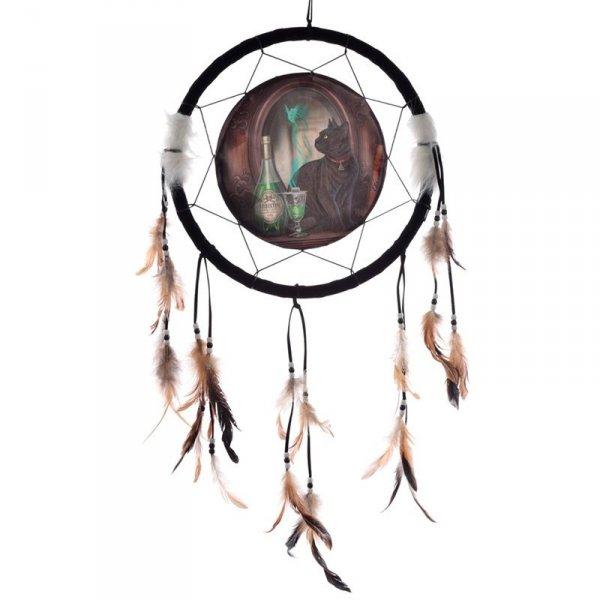 """indiański łapacz snów z obrazkiem Lisy Parker """"Kot i Absyntowa Zielona Wróżka"""""""