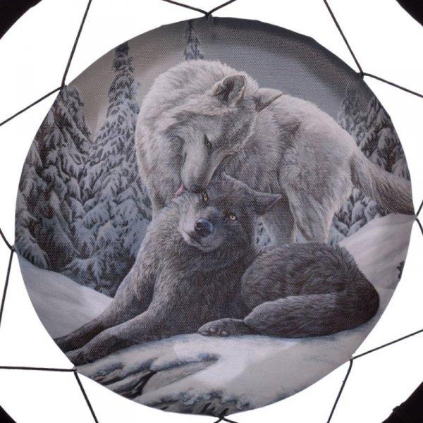 """Dwa Wilki na Śniegu """"Snow Kisses"""" - indiański łapacz snów z obrazkiem Lisy Parker"""