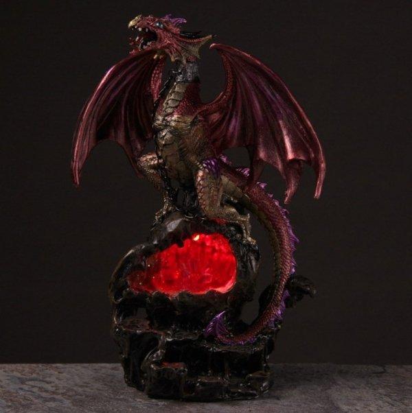 czerwony smok lampka ledowa ze smokiem wiwern smoki pomysł na prezent lampa nocna