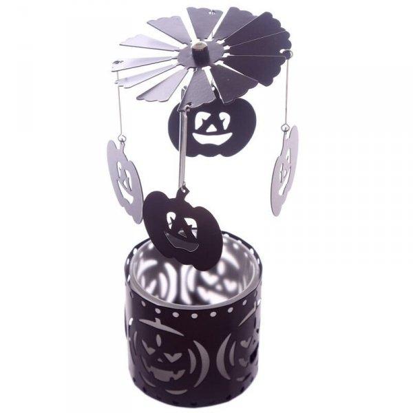 świecznik Dynie Halloween - obrotowa ruchoma karuzelka, działająca na ciepło świecy