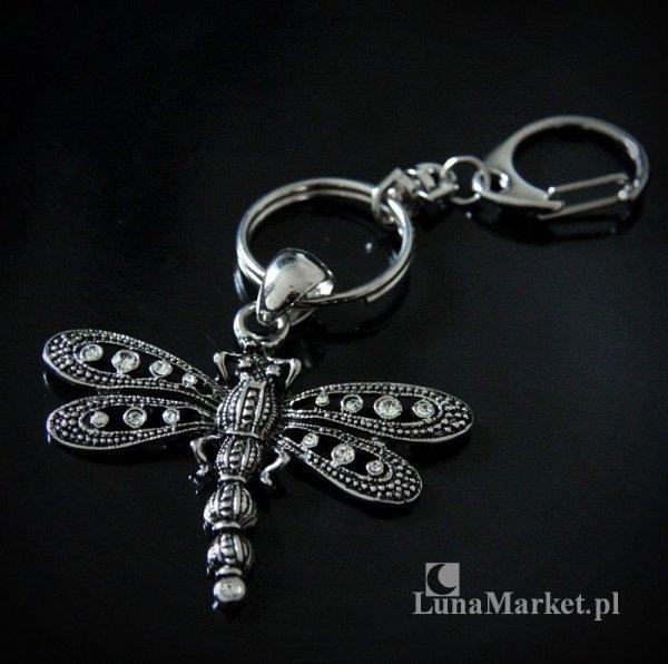 Ważka z Kryształkami - brelok do kluczy lub do torebki,  vintage gothic retro