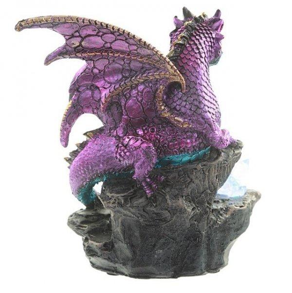 fioletowy Smok z kryształem - figurka smoka z lampką LED
