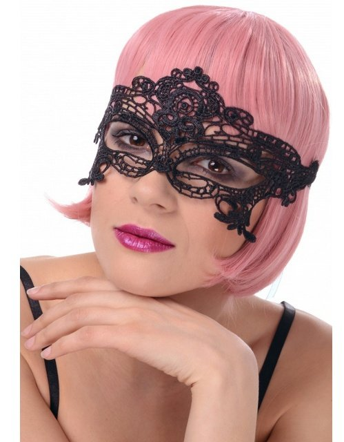 maska karnawałowa koronkowa w kolorze czarnym, wiązana na tasiemki