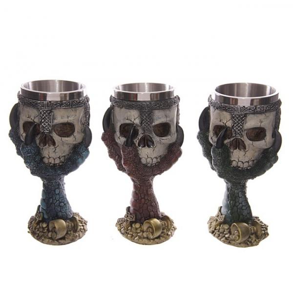gotyckie kielichy - puchary dekoracyjne - smocze łapy z czaszkami