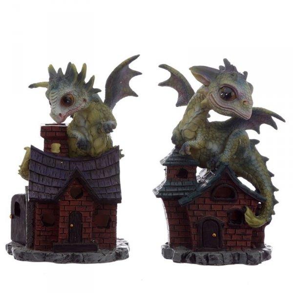 """Zielone Smoki na domkach """"Opiekunowie Snów"""" - figurki w stylu fantasy"""